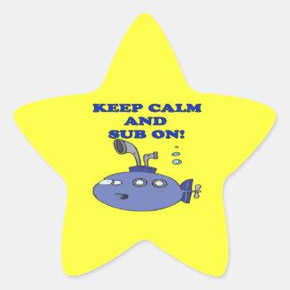 Mantenga tranquilo y sub en 2 pegatina en forma de estrella