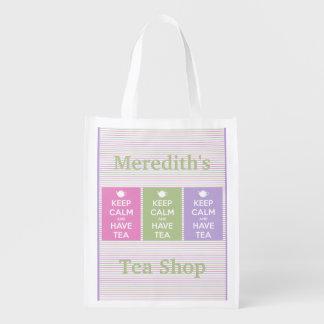 Mantenga tranquilo y tenga collage del té bolsa para la compra