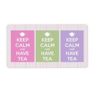 Mantenga tranquilo y tenga collage del té etiqueta de envío