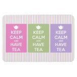 Mantenga tranquilo y tenga collage del té iman de vinilo