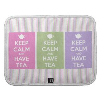 Mantenga tranquilo y tenga collage del té planificadores