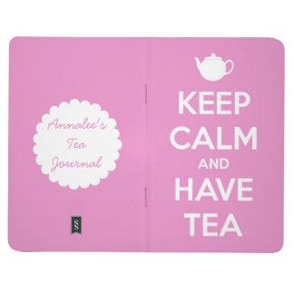 Mantenga tranquilo y tenga diario rosado del té cuaderno