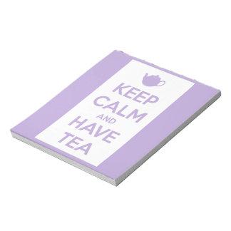 Mantenga tranquilo y tenga la lavanda del té/libre bloc de papel