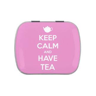 Mantenga tranquilo y tenga lata recargable rosada  frascos de caramelos