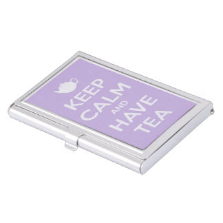 Mantenga tranquilo y tenga lavanda del té cajas de tarjetas de negocios