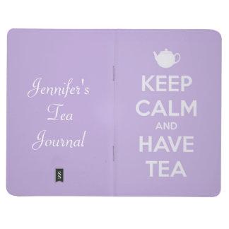 Mantenga tranquilo y tenga lavanda del té cuadernos