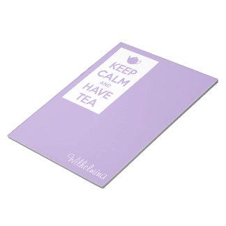 Mantenga tranquilo y tenga lavanda del té personal bloc de papel