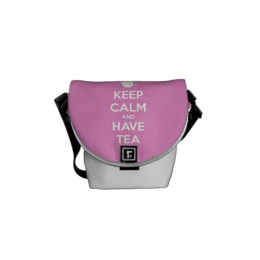 Mantenga tranquilo y tenga rosa del té bolsas de mensajeria