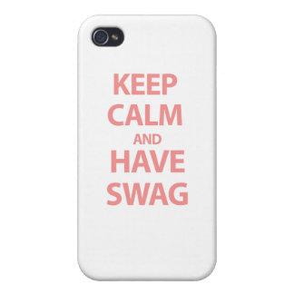 Mantenga tranquilo y tenga Swag iPhone 4 Fundas