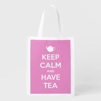 Mantenga tranquilo y tenga tote personalizado rosa bolsas de la compra