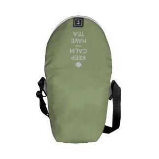 Mantenga tranquilo y tenga verde salvia del té bolsas messenger