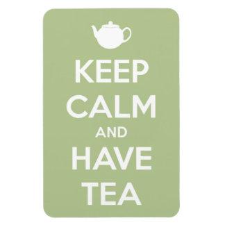 Mantenga tranquilo y tenga verde salvia del té imanes