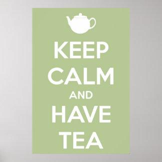 Mantenga tranquilo y tenga verde salvia del té póster