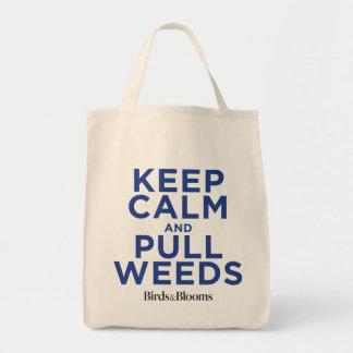 Mantenga tranquilo y tire de las malas hierbas bolsa tela para la compra