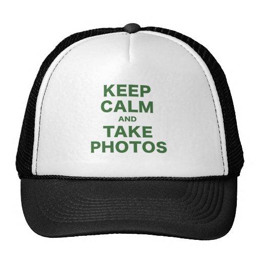 Mantenga tranquilo y tome las fotos gorros bordados