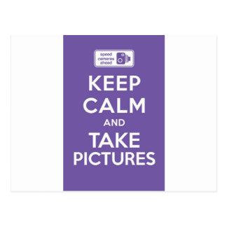 Mantenga tranquilo y tome las imágenes tarjetas postales