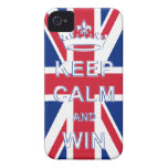 Mantenga tranquilo y triunfo Union Jack Case-Mate iPhone 4 Protectores