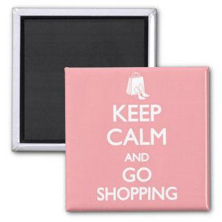 Mantenga tranquilo y vaya a hacer compras imán cuadrado