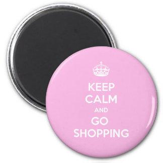 Mantenga tranquilo y vaya a hacer compras imán redondo 5 cm