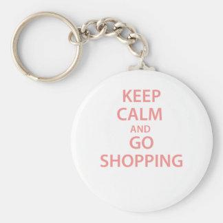 ¡Mantenga tranquilo y vaya a hacer compras! Llavero Redondo Tipo Pin