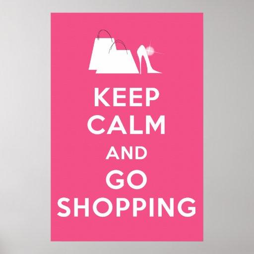 Mantenga tranquilo y vaya a hacer compras - rosa d impresiones