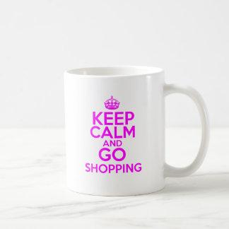 Mantenga tranquilo y vaya a hacer compras taza básica blanca