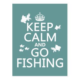 Mantenga tranquilo y vaya a pescar tarjeta postal