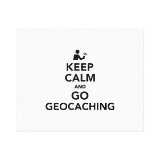 Mantenga tranquilo y vaya Geocaching Impresión En Tela