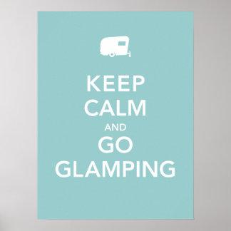 Mantenga tranquilo y vaya Glamping - poster de rv