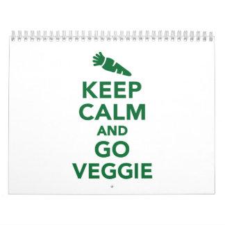 Mantenga tranquilo y vaya veggie calendarios de pared