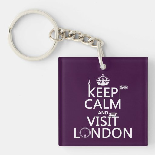 Mantenga tranquilo y visita Londres (cualquier col Llavero
