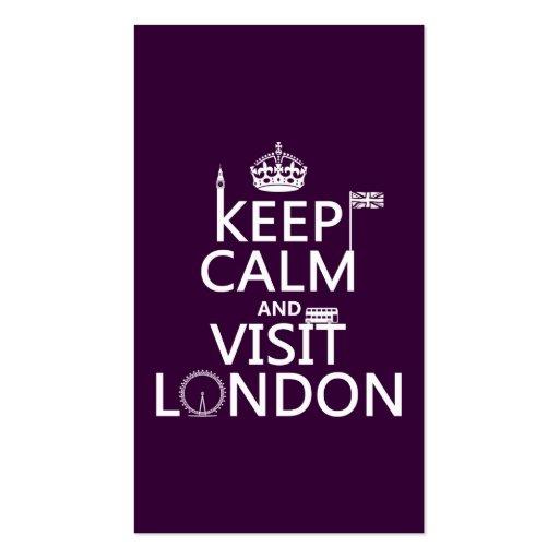 Mantenga tranquilo y visita Londres (cualquier col Plantilla De Tarjeta De Negocio