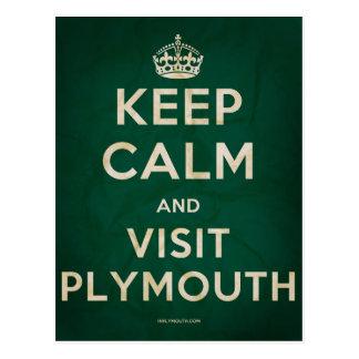 Mantenga tranquilo y visita Plymouth Tarjetas Postales