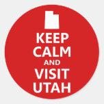 Mantenga tranquilo y visita Utah Pegatina Redonda