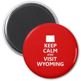 Mantenga tranquilo y visita Wyoming Imán Redondo 5 Cm