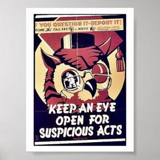 Mantenga un ojo abierto para los actos sospechosos póster
