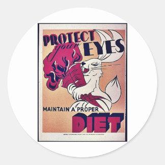 Mantenga una dieta apropiada pegatina redonda