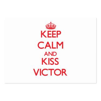Mantenga vencedor tranquilo y del beso tarjetas de visita