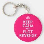 Mantenga venganza tranquila y del diagrama llaveros