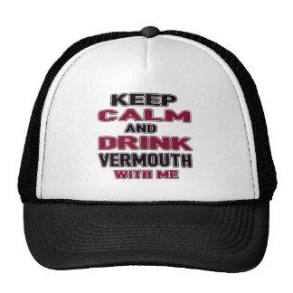 Mantenga vermú tranquilo y de la bebida conmigo gorros bordados