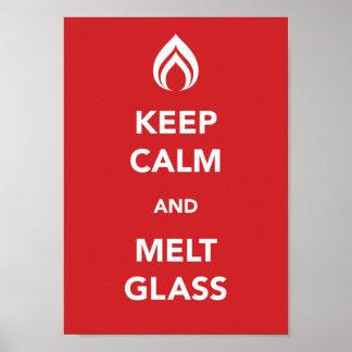 Mantenga vidrio tranquilo y del derretimiento impresiones