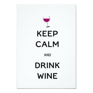 """Mantenga vino tranquilo y de la bebida invitación 3.5"""" x 5"""""""