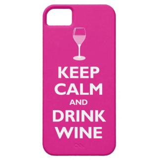 Mantenga vino tranquilo y de la bebida (las rosas  iPhone 5 fundas
