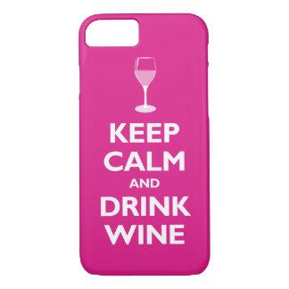 Mantenga vino tranquilo y de la bebida (las rosas funda iPhone 7