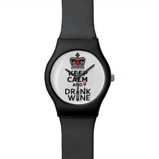 Mantenga vino tranquilo y de la bebida relojes de pulsera