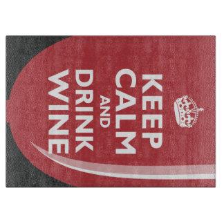 Mantenga vino tranquilo y de la bebida tabla de cortar