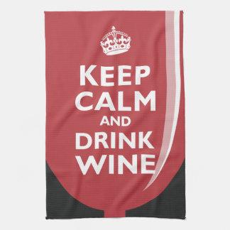 Mantenga vino tranquilo y de la bebida toalla de cocina