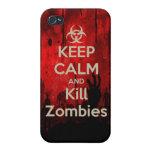 Mantenga wa tranquilo y de la matanza del zombi de iPhone 4 funda