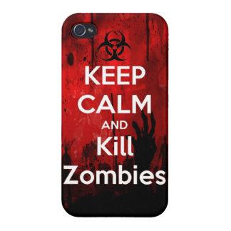 Mantenga wa tranquilo y de la matanza del zombi de iPhone 4 fundas