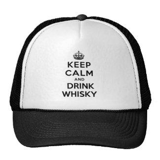 mantenga whisky tranquilo y de la bebida gorra